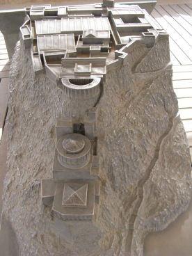 "model of ""northern hanging terrace of Masada"""