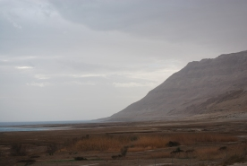 Dead sea and its surrounding hills alng highway 90, Israel