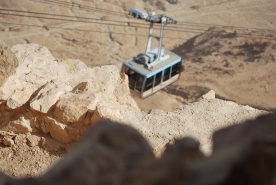 Cable cars at Masada - the easiest way to reach the top of the hill.