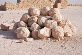 Stones used by Romans to breach the western Masada wall.