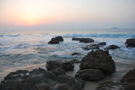 Ancient port city ruins can be seen all along the Ashkelon beach