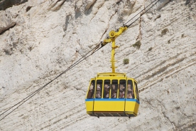 Cable car at Rosh Hanikra - claimed to be the world's most steepest cable car i the world at a gradient of 60 degree